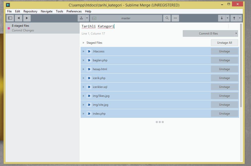 Son olarak Commit files tuşuna basarak ekliyoruz.