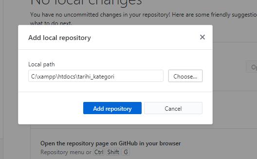 Add repository seçerek proje dizinini ekliyoruz;
